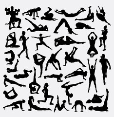 Gymnastic, training, exercise sport bundle silhouette. Male and female stretching activity. Good use for symbol, logo, web icon, mascot, sign, design, or any design you want.