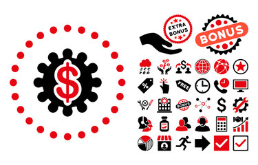 Payment Options icon with bonus symbols. Vector illustration style is flat iconic bicolor symbols, intensive red and black colors, white background.