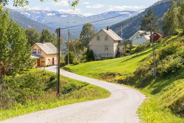 Road and halmet around Stalheim in Hordaland, Norway