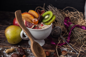 Oatmeal with berries, fruits and nuts