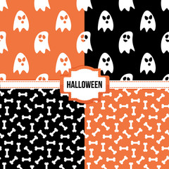 Set, collection of four simple modern colorful halloween seamless patterns.
