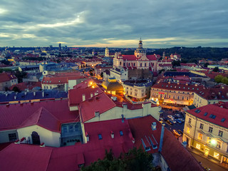 Vilnius, Lithuania: aerial top view of the old town