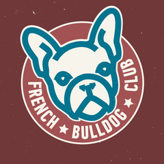 French Bulldog Club Circle Emblem Design. Vector Image.