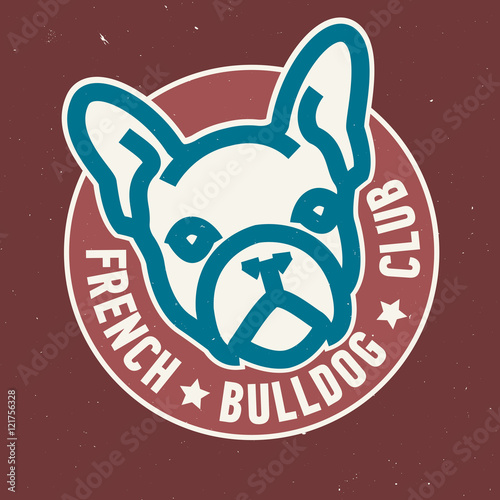 quotfrench bulldog club circle emblem design vector image