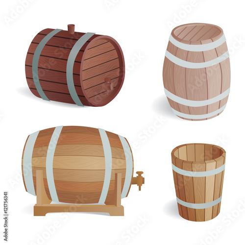 Wooden Barrel Vintage Old Style Wooden Barrels Oak Storage Container.
