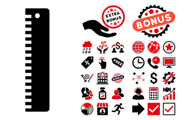 Ruler pictograph with bonus pictures. Vector illustration style is flat iconic bicolor symbols, intensive red and black colors, white background.