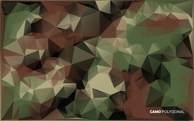 Abstract Vector Military Camouflage Background Made of Geometric Triangles Shapes.