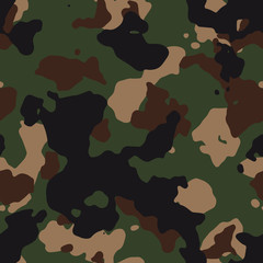 Seamless green and brown classic fashion woodland camo pattern vector