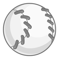 Baseball icon in black monochrome style isolated on white background. Sport symbol vector illustration