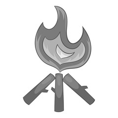 Fire icon in black monochrome style isolated on white background. Heat symbol vector illustration