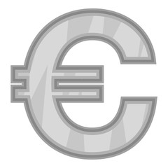 Sign of money euro icon in black monochrome style isolated on white background. Currency symbol vector illustration