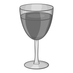 Glass of wine icon in black monochrome style isolated on white background. Drink symbol vector illustration