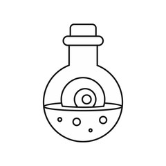 Potion in flask icon in outline style isolated on white background. Cooking symbol vector illustration