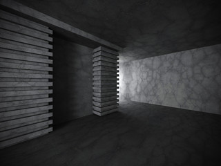 Dark concrete walls empty room interior. Architecture background
