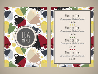 Tea menu. Pattern with cups of tea. Size a4. Vector illustration, eps10