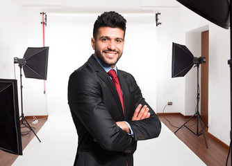Businessman portrait in a photographic studio
