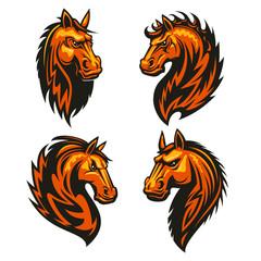 Horse head in fire shape heraldic icons