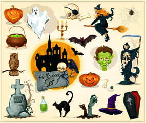 Halloween icons and symbols set