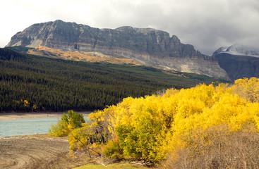 Wall Mural - Fall Color Sherburne Lake Many Glacier National Park Montana