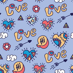 Acrylic Prints Pop Art color cartoon love vector seamless pattern