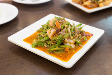 Wing Bean Salad with Fresh Shrimp,Selective focus,Thailand food