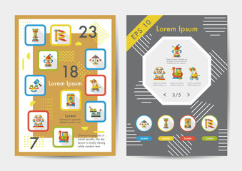 Musement icons set with long shadow,eps10