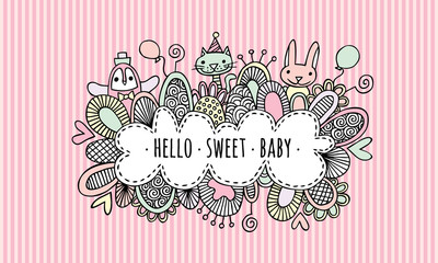 Hello Sweet Baby Girl Hand Drawn Doodle Vector illustration with the words hello sweet baby surrounded by a penguin, bunny, rabbit, cat, balloons, hearts, and swirls on a stripe background.