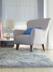 Gray upholstery armchair with blue pillow in modern interior living room