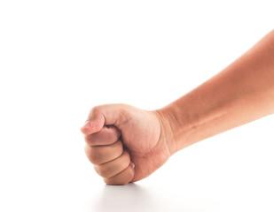 fist smashing on white