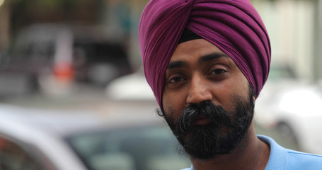 Indian Punjabi sheik man in city face portrait