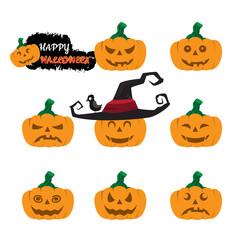 Halloween pumpkin vector set, Simple flat style design elements.