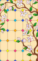 Illustration in stained glass style with abstract cherry blossoms on a beige background