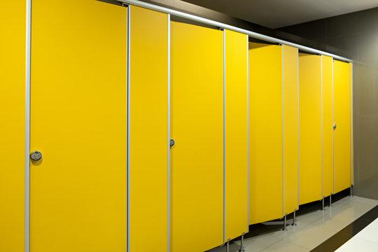 Toilet bathroom yellow door open and close sorted