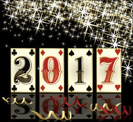 New 2017 year poker cards banner, vector illustration