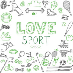 Hand-drawn lettering and sport doodles. Line art text and different objects isolated on the white background.