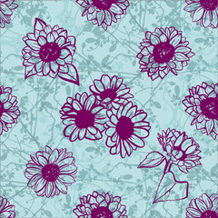 Seamless pattern of freehand vector sunflowers on teal branches