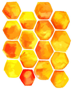 Abstract vector watercolor yellow cells texture