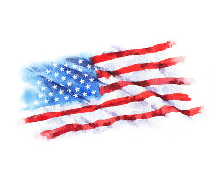 Hand-drawn watercolor flag of the USA, isolated on the white background
