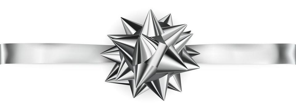 Shiny bow with horizontal ribbon