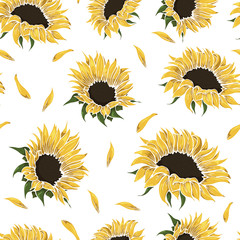 seamless pattern with bright yellow sunflowers