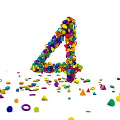 Obraz cyfra 4 z prostych figur 3D - fototapety do salonu