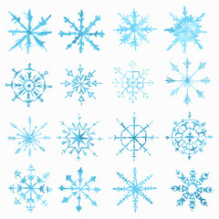 Watercolor snowflackes set on white background. Symbol of winter. Beautiful decoration.