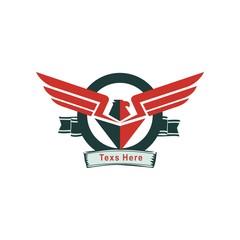 Bird wings abstract vector logo design. Luxury emblem icon