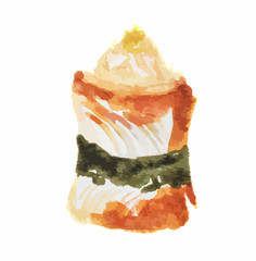 Isolated watercolor sushi on white background. Traditional asian food with rice and fish.