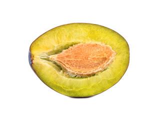 Half fresh plums