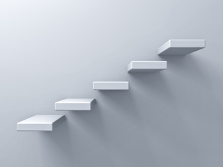 Abstract stairs or steps concept on white wall background with shadow 3D rendering Wall mural