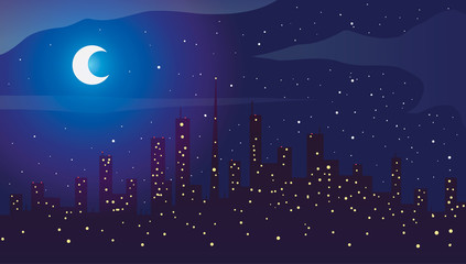 Big city at night with moon and stars. Vector illustration.