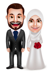 Muslim couple vector characters as bride and groom wearing hijab and white wedding dress and black tuxedo isolated in white background. Vector illustration.