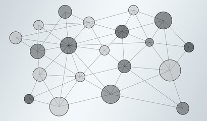 Circle data network connection 3D rendering