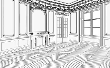 Jugendstil Apartment leer (Zeichnung)